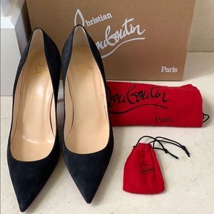 Christian Louboutin Apostrophy Pump in grey suede